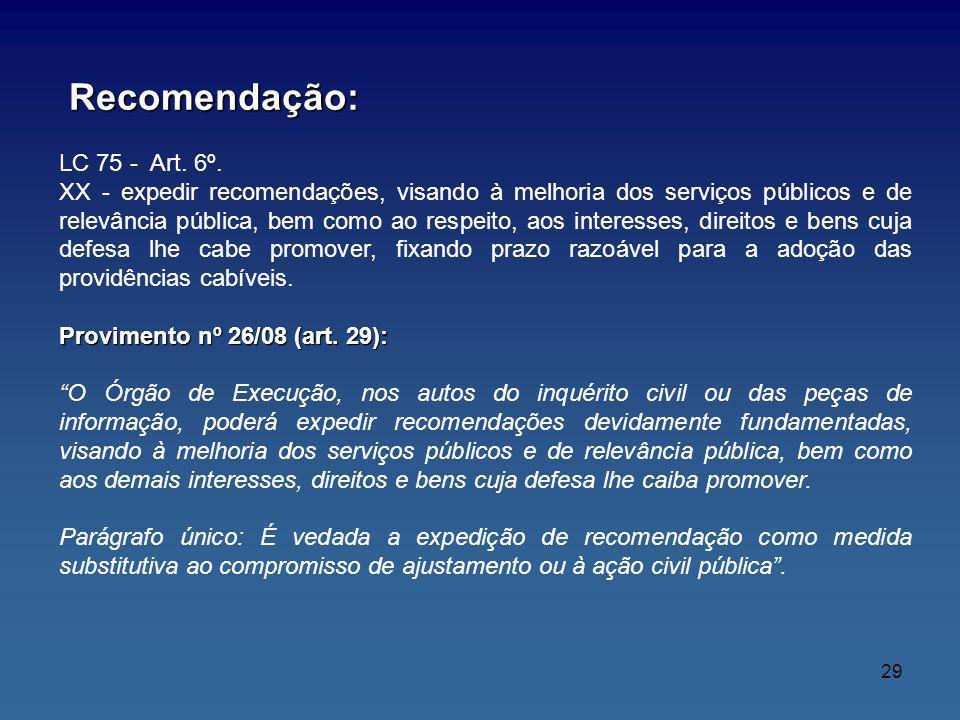 Recomendação: LC 75 - Art. 6º.