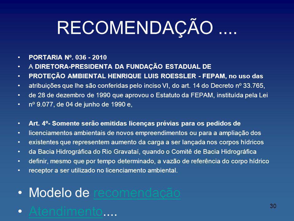 RECOMENDAÇÃO .... Modelo de recomendação Atendimento....