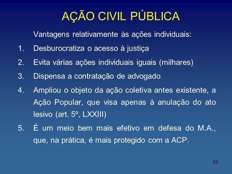 AÇÃO CIVIL PÚBLICA Vantagens relativamente às ações individuais: