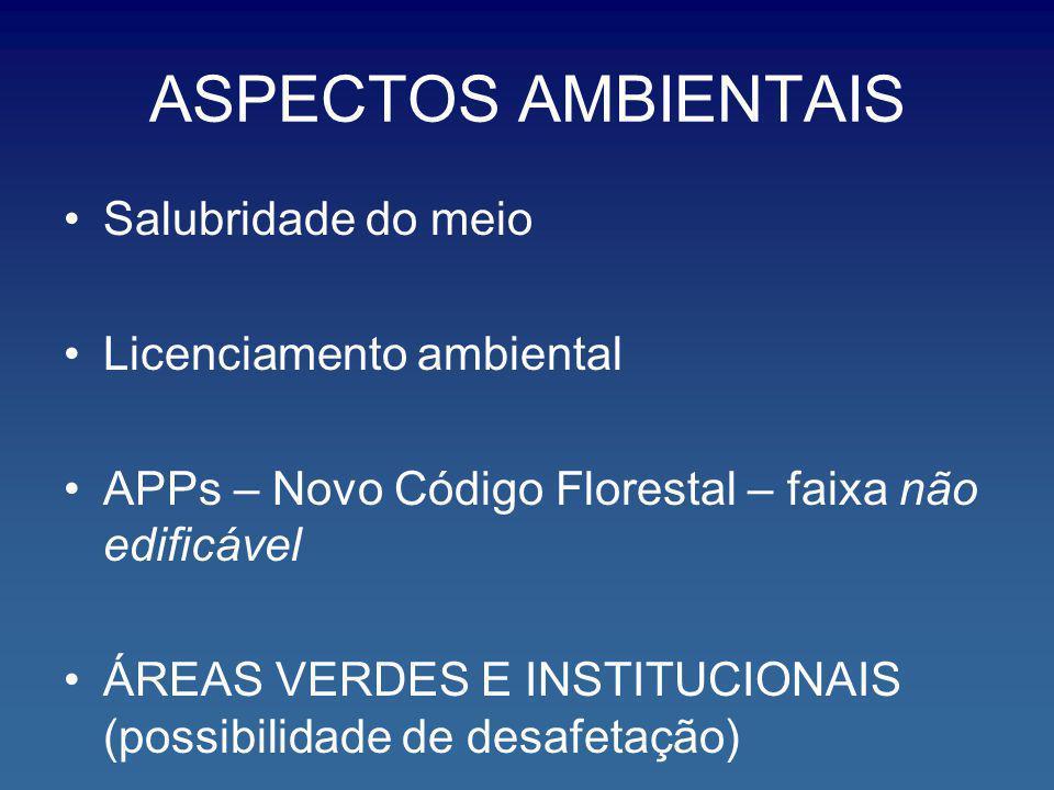 ASPECTOS AMBIENTAIS Salubridade do meio Licenciamento ambiental