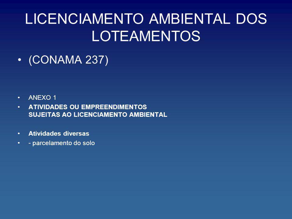 LICENCIAMENTO AMBIENTAL DOS LOTEAMENTOS