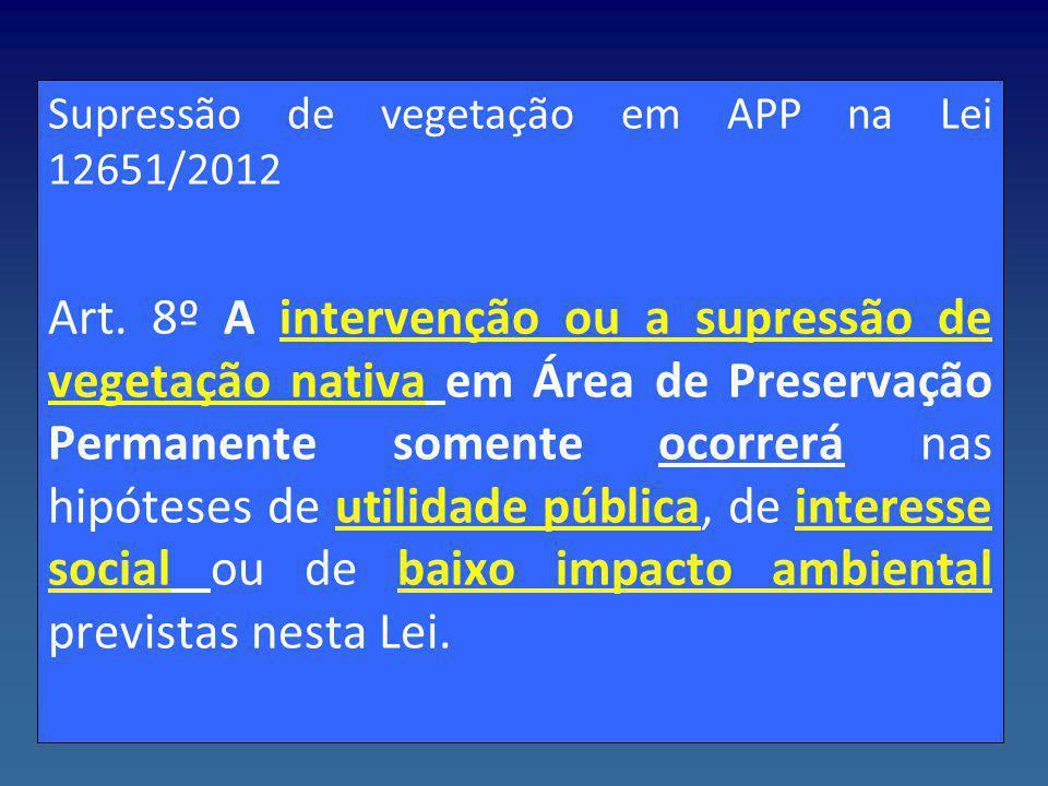 Supressão de vegetação em APP na Lei 12651/2012