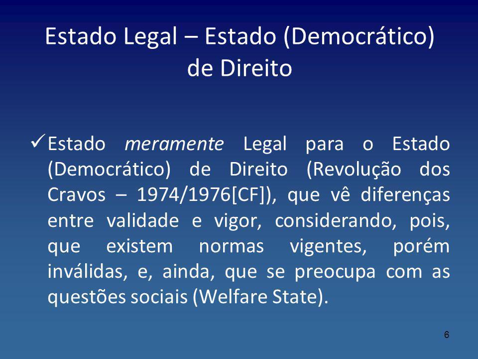 Estado Legal – Estado (Democrático) de Direito