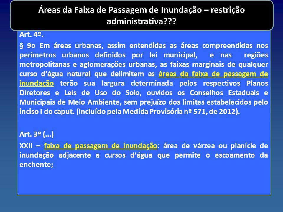Áreas da Faixa de Passagem de Inundação – restrição administrativa