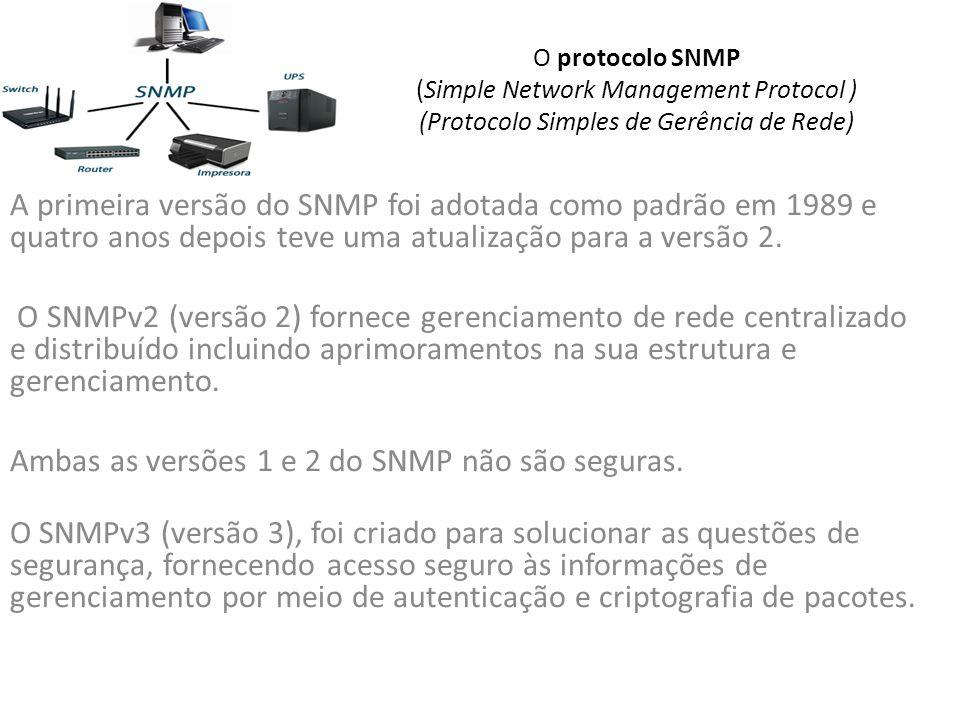 Ambas as versões 1 e 2 do SNMP não são seguras.