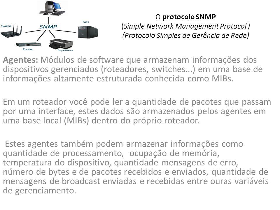 O protocolo SNMP (Simple Network Management Protocol ) (Protocolo Simples de Gerência de Rede)