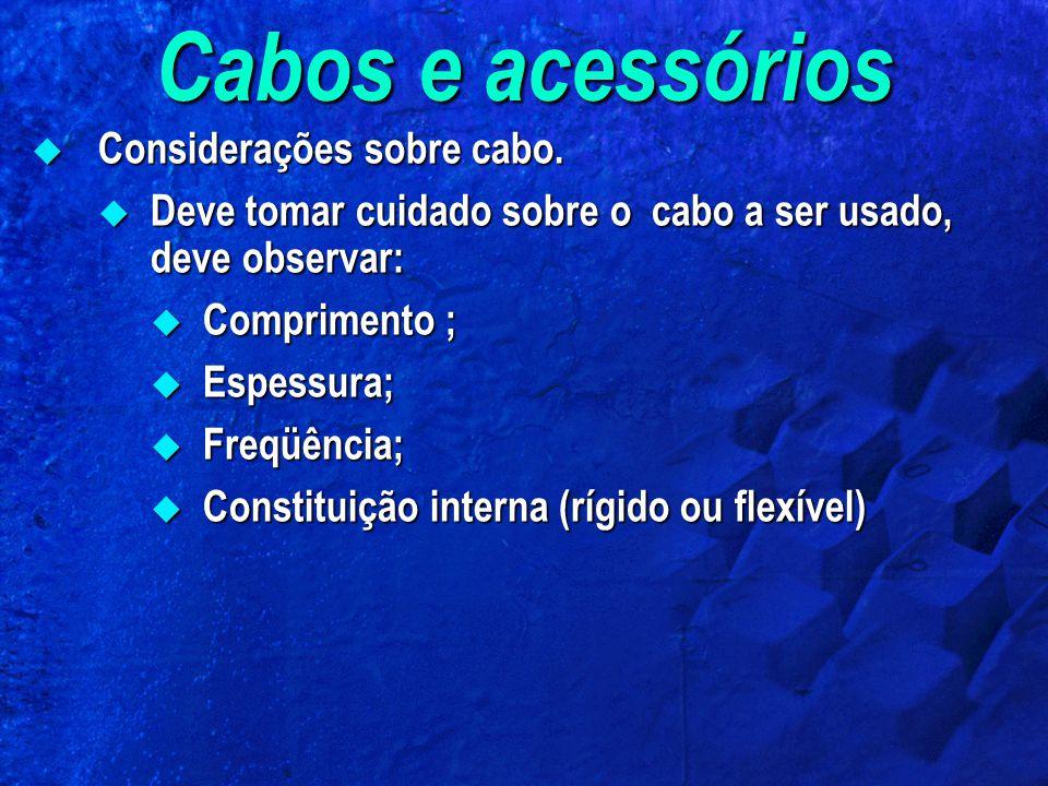 Cabos e acessórios Considerações sobre cabo.