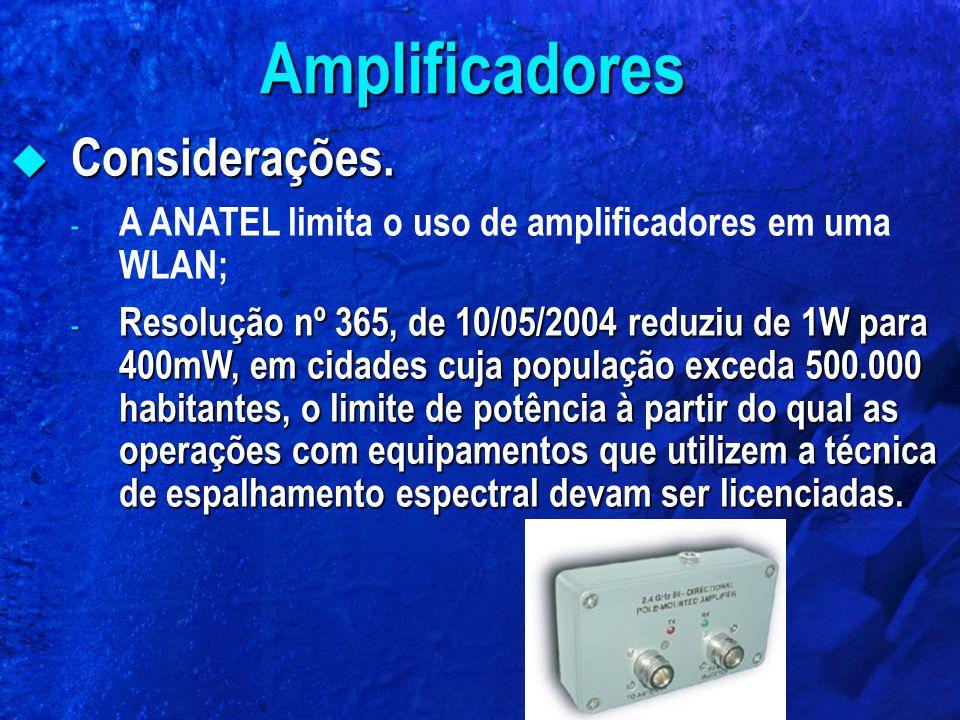 Amplificadores Considerações.