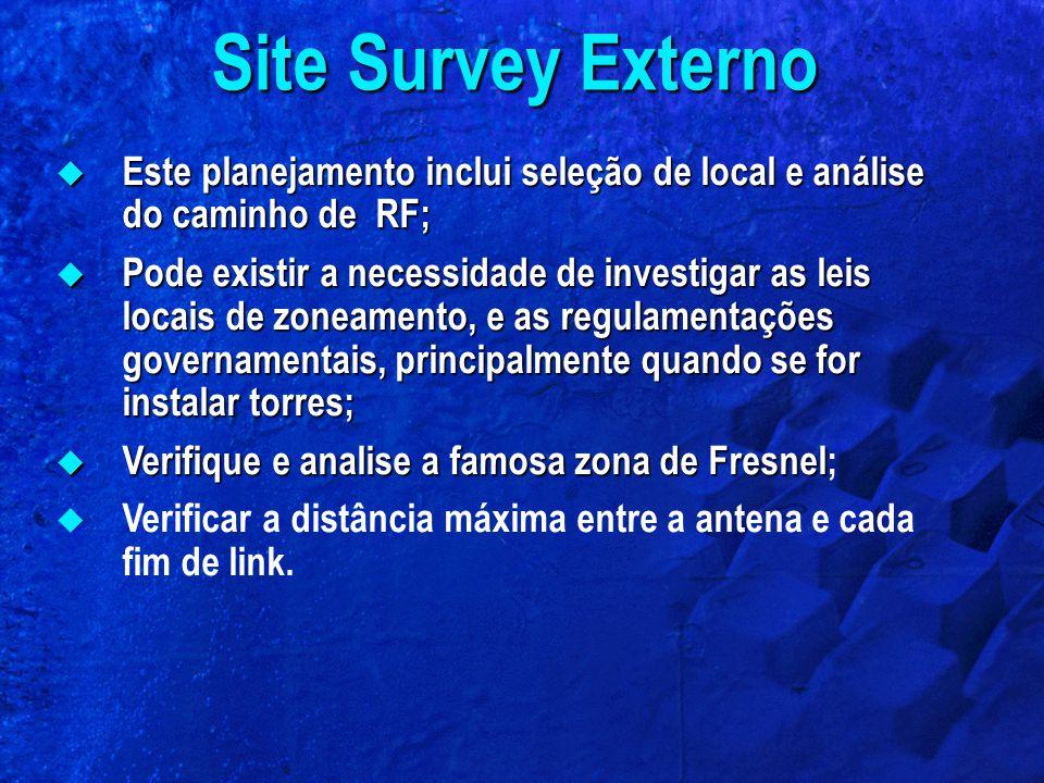 Site Survey Externo Este planejamento inclui seleção de local e análise do caminho de RF;