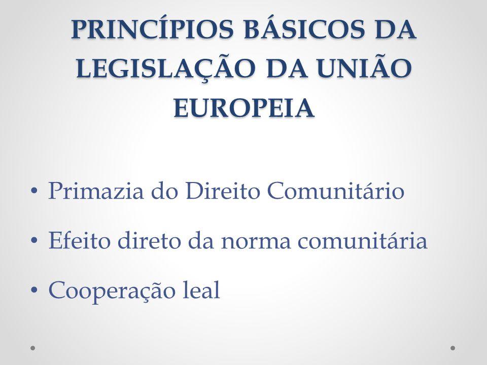 PRINCÍPIOS BÁSICOS DA LEGISLAÇÃO DA UNIÃO EUROPEIA
