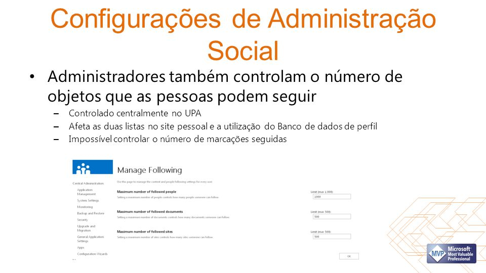 Configurações de Administração Social