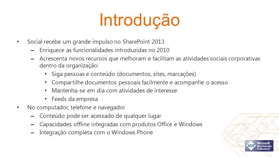 Introdução Social recebe um grande impulso no SharePoint 2013