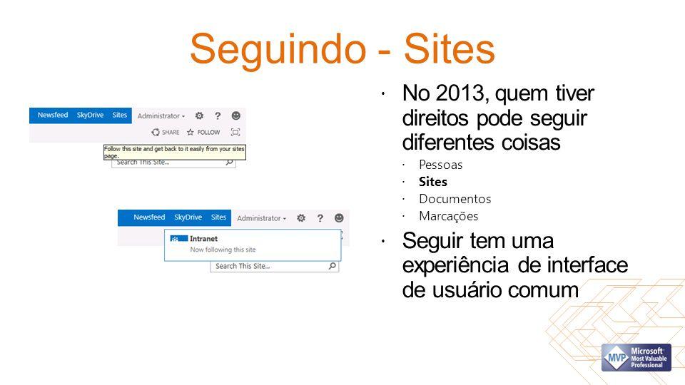Seguindo - Sites No 2013, quem tiver direitos pode seguir diferentes coisas. Pessoas. Sites. Documentos.