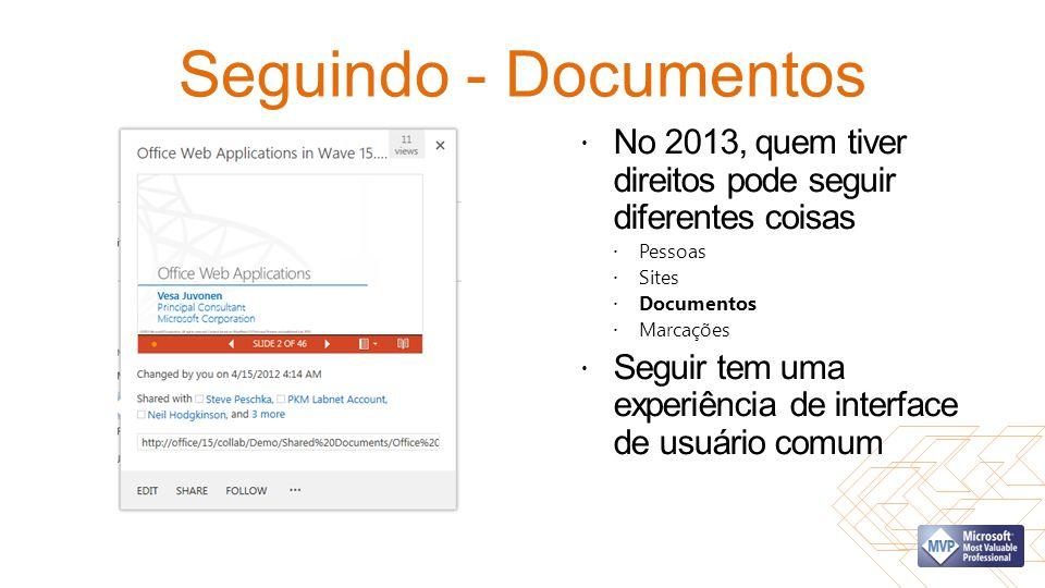 Seguindo - Documentos No 2013, quem tiver direitos pode seguir diferentes coisas. Pessoas. Sites.