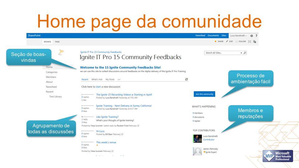 Home page da comunidade