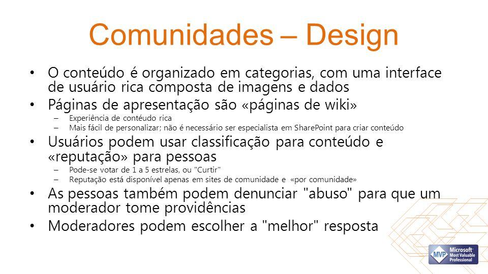 Comunidades – Design O conteúdo é organizado em categorias, com uma interface de usuário rica composta de imagens e dados.