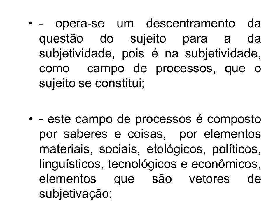 - opera-se um descentramento da questão do sujeito para a da subjetividade, pois é na subjetividade, como campo de processos, que o sujeito se constitui;