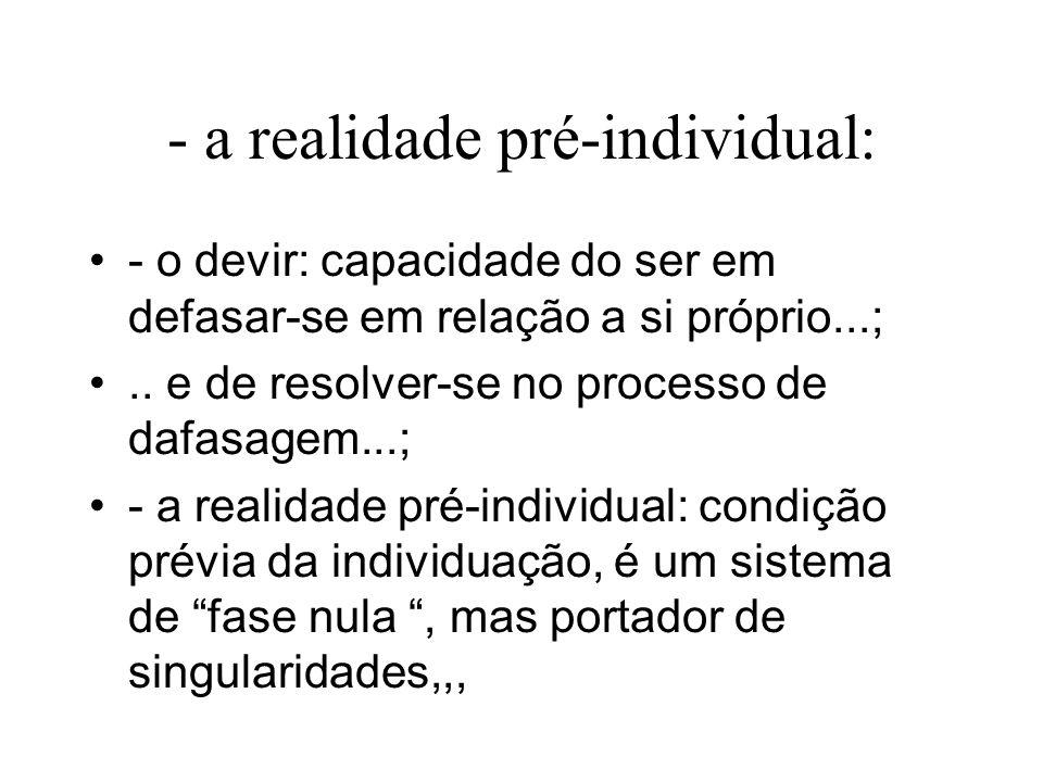 - a realidade pré-individual: