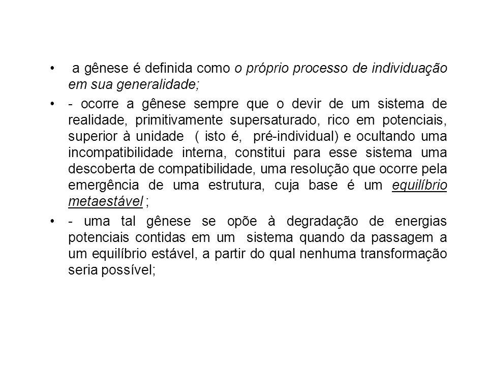a gênese é definida como o próprio processo de individuação em sua generalidade;