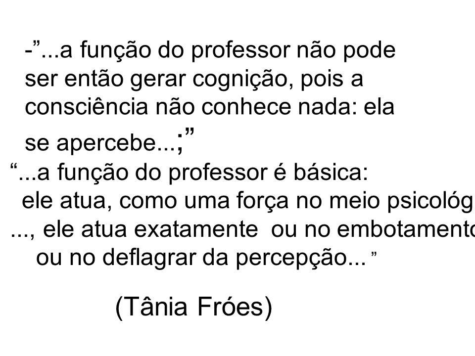- ...a função do professor não pode ser então gerar cognição, pois a consciência não conhece nada: ela se apercebe...;