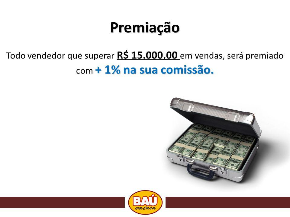 Premiação Todo vendedor que superar R$ 15.000,00 em vendas, será premiado com + 1% na sua comissão.