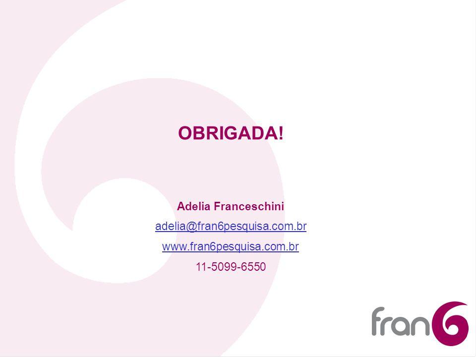 OBRIGADA! Adelia Franceschini adelia@fran6pesquisa.com.br