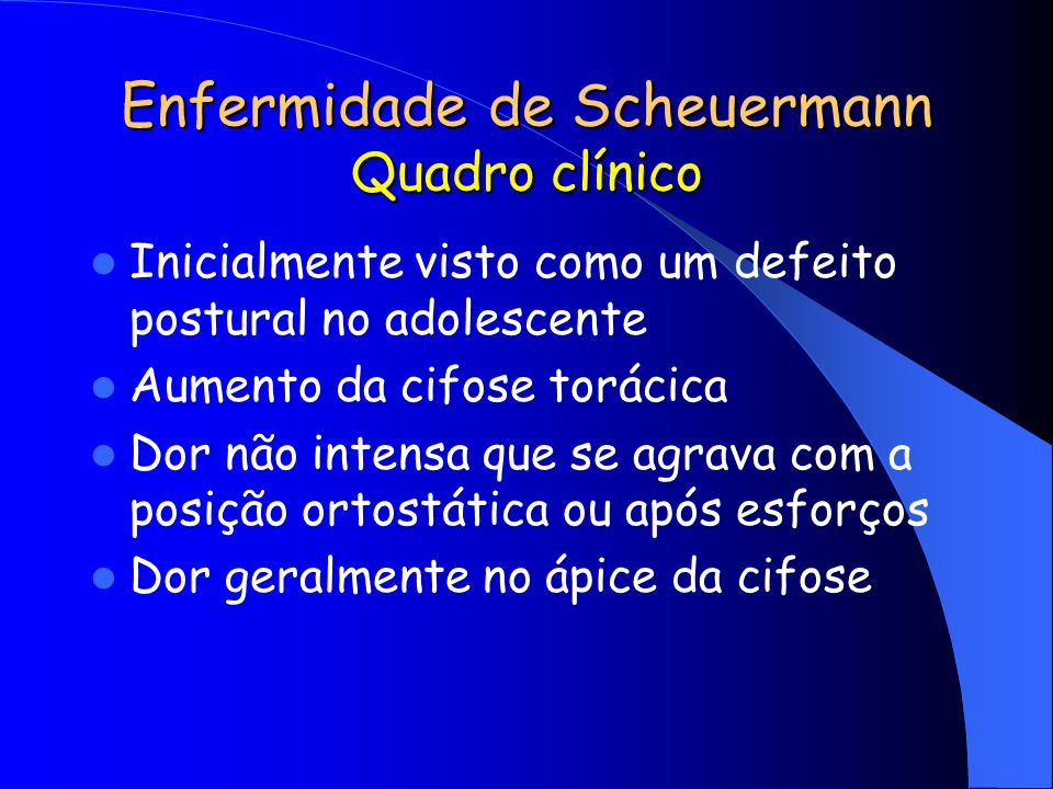Enfermidade de Scheuermann Quadro clínico