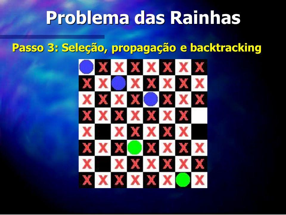 Problema das Rainhas Passo 3: Seleção, propagação e backtracking