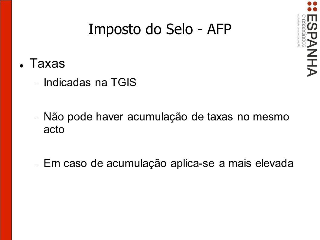 Imposto do Selo - AFP Taxas Indicadas na TGIS