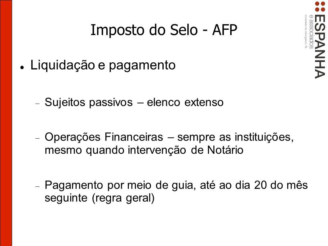 Imposto do Selo - AFP Liquidação e pagamento
