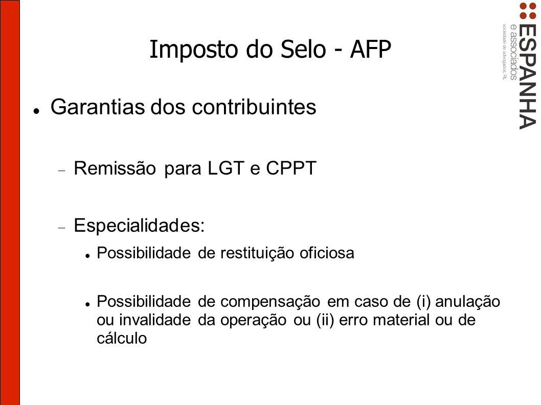 Imposto do Selo - AFP Garantias dos contribuintes