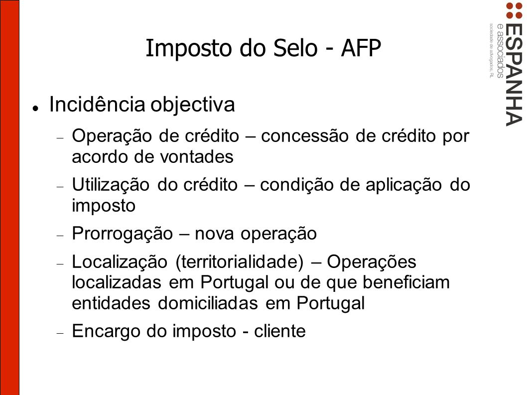 Imposto do Selo - AFP Incidência objectiva