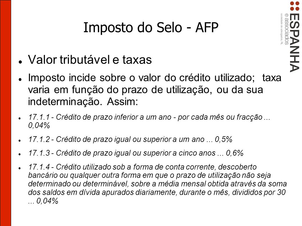 Imposto do Selo - AFP Valor tributável e taxas