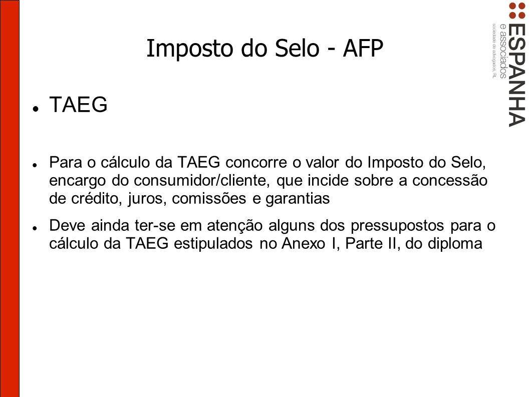 Imposto do Selo - AFP TAEG