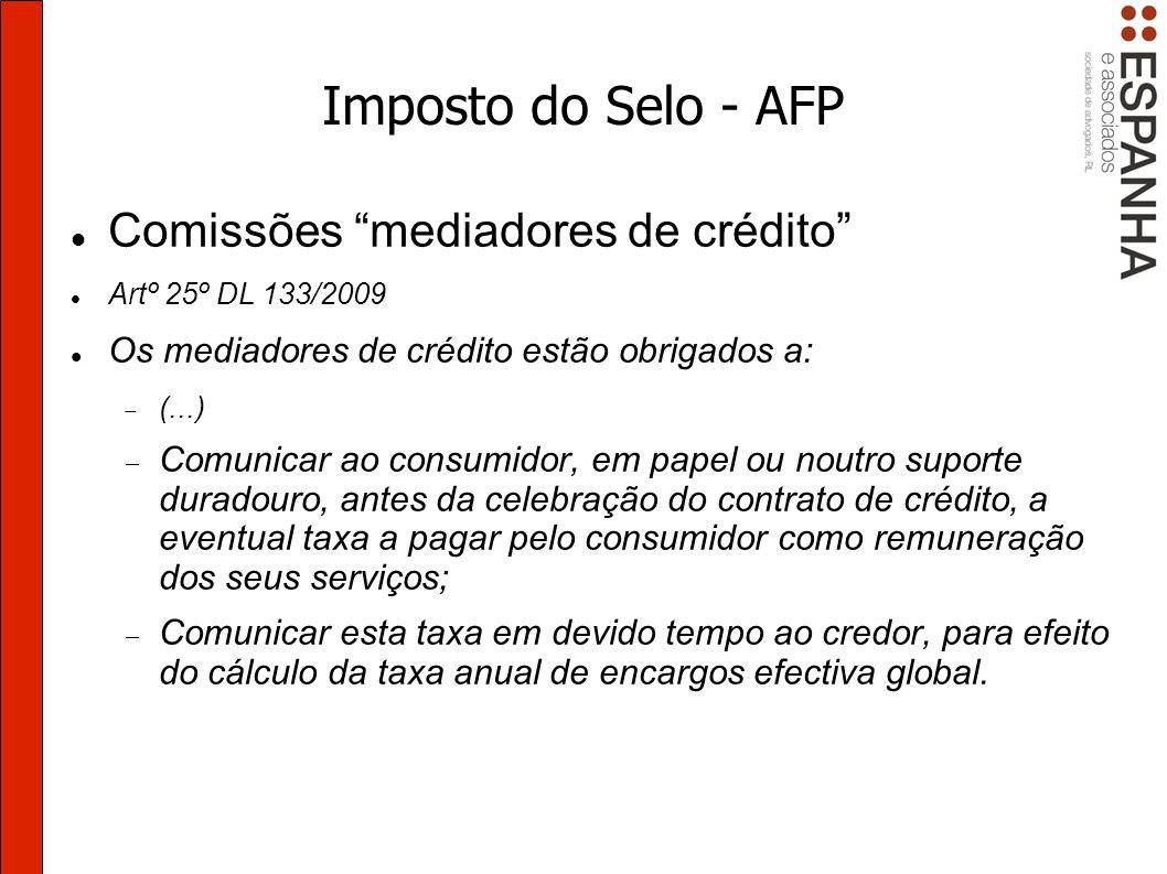 Imposto do Selo - AFP Comissões mediadores de crédito