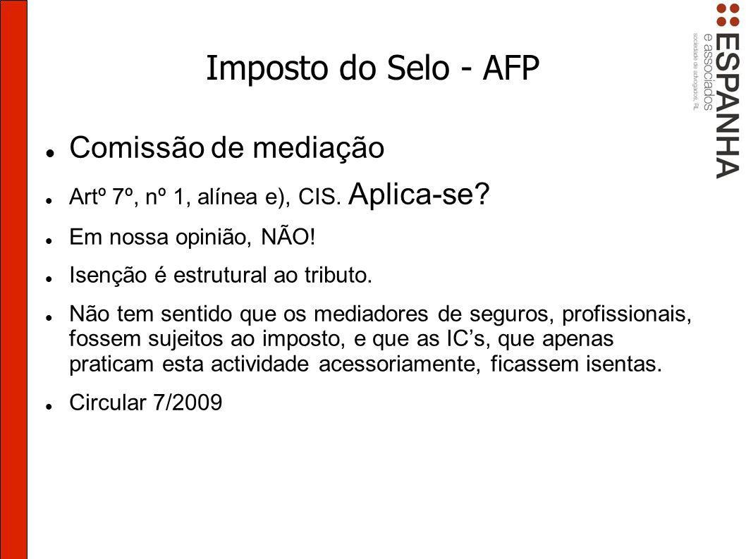 Imposto do Selo - AFP Comissão de mediação