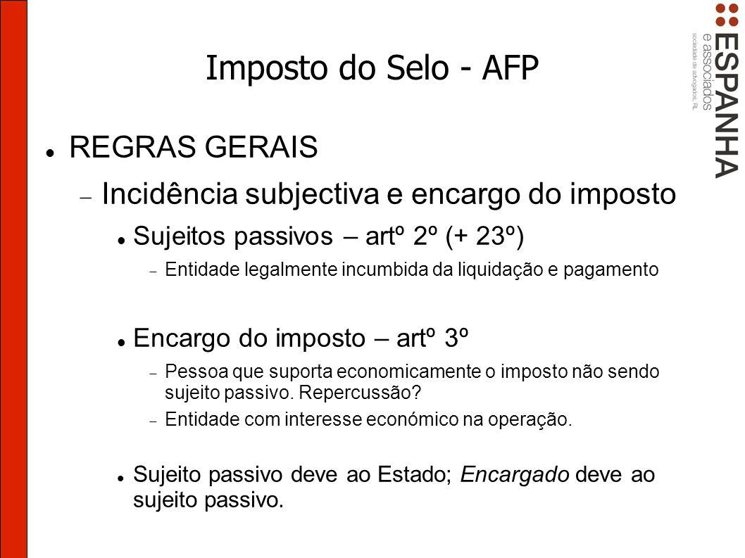 Imposto do Selo - AFP REGRAS GERAIS