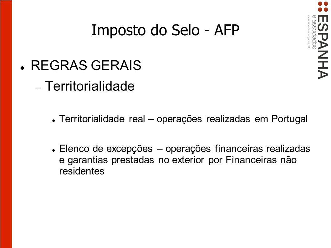 Imposto do Selo - AFP REGRAS GERAIS Territorialidade
