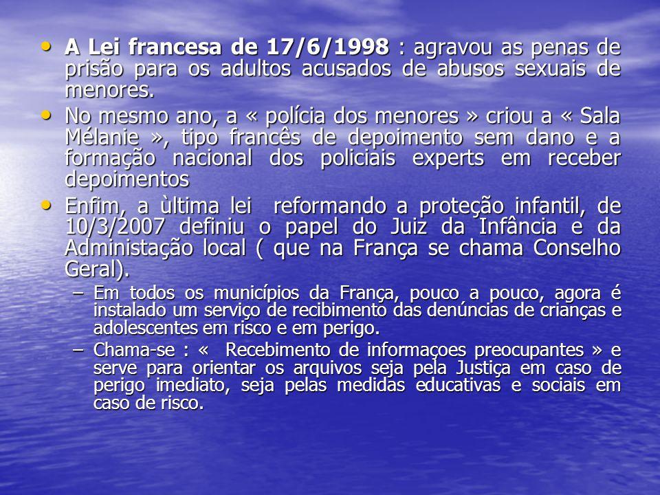 A Lei francesa de 17/6/1998 : agravou as penas de prisão para os adultos acusados de abusos sexuais de menores.