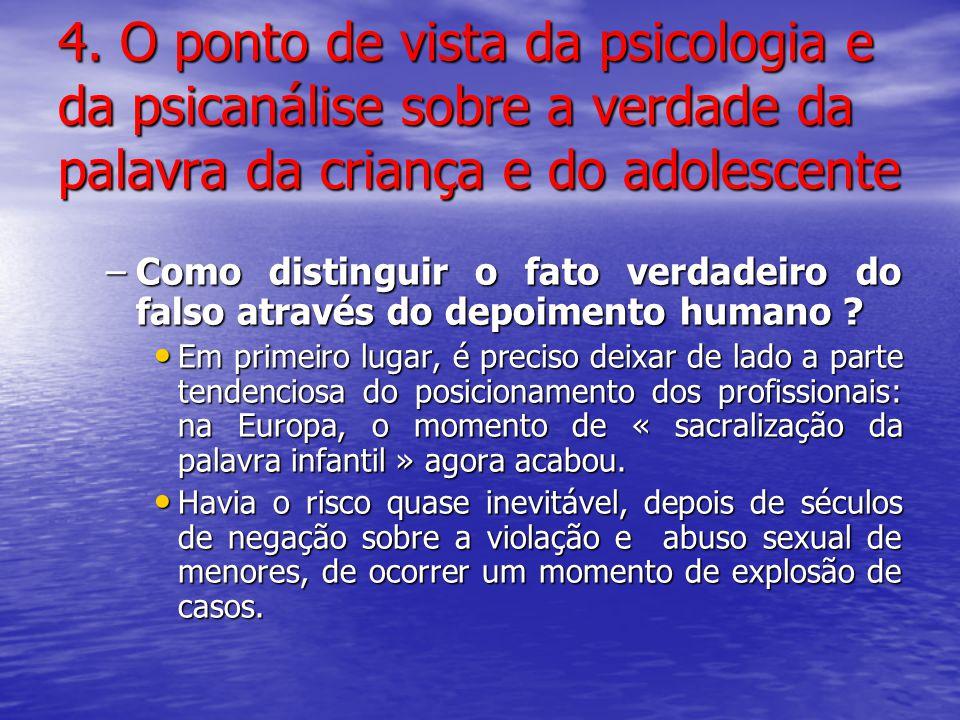 4. O ponto de vista da psicologia e da psicanálise sobre a verdade da palavra da criança e do adolescente