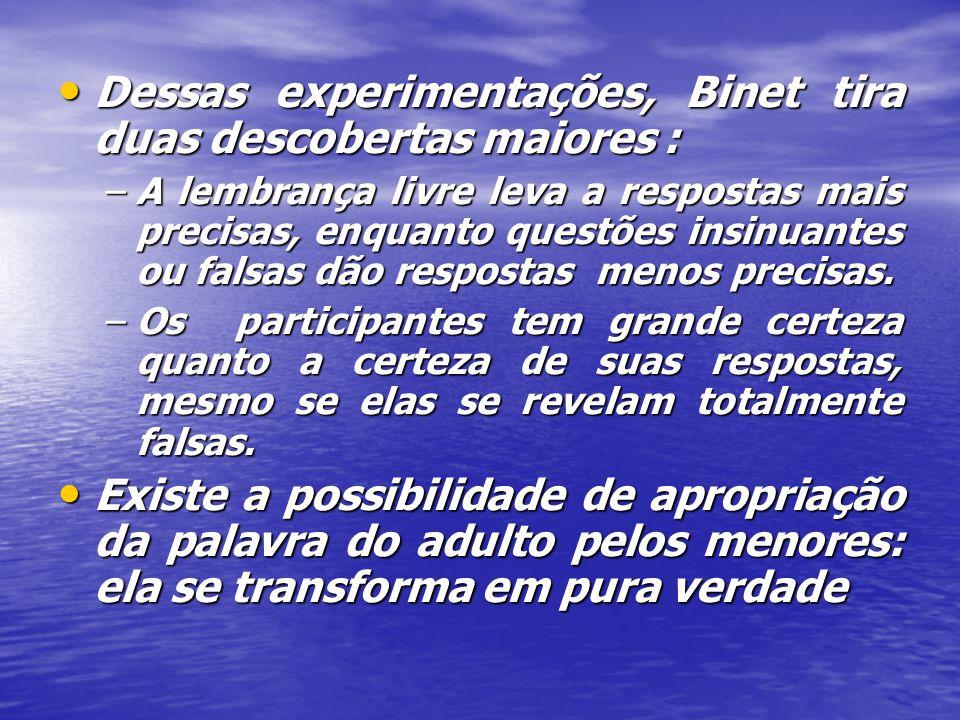 Dessas experimentações, Binet tira duas descobertas maiores :