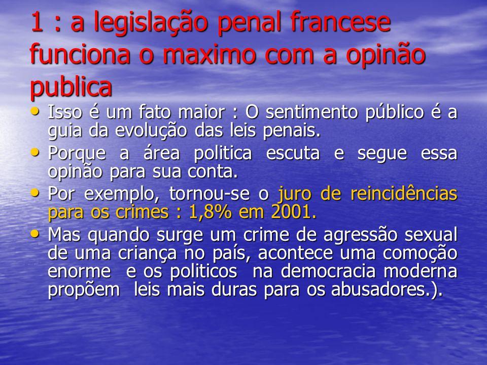 1 : a legislação penal francese funciona o maximo com a opinão publica