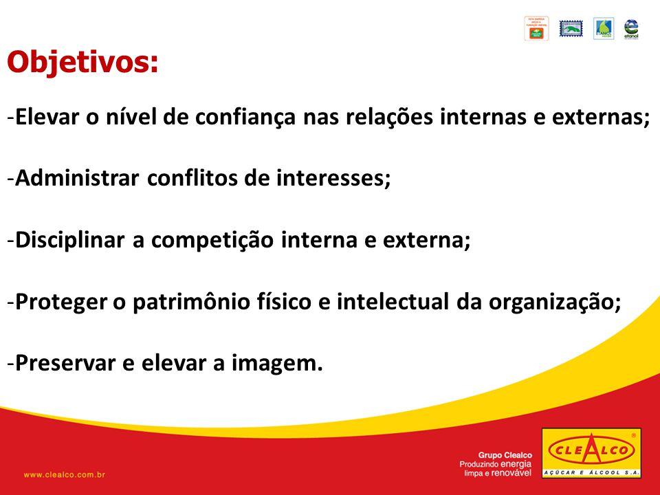 Objetivos: Elevar o nível de confiança nas relações internas e externas; Administrar conflitos de interesses;