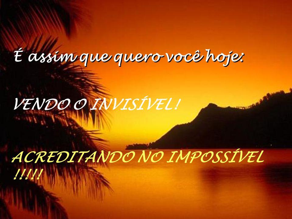 É assim que quero você hoje: VENDO O INVISÍVEL! ACREDITANDO NO IMPOSSÍVEL !!!!!