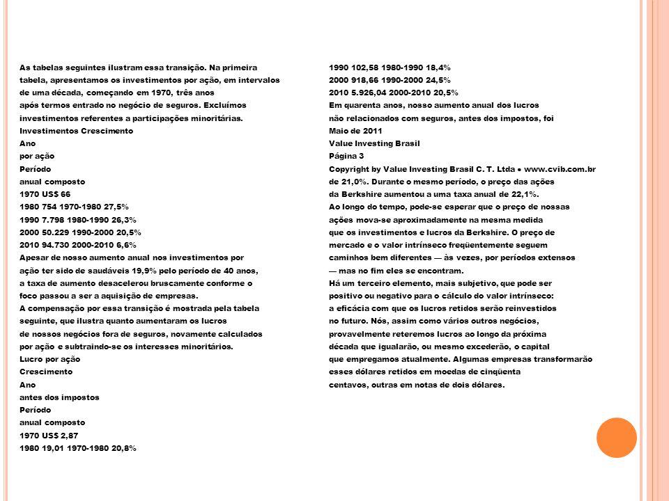 As tabelas seguintes ilustram essa transição
