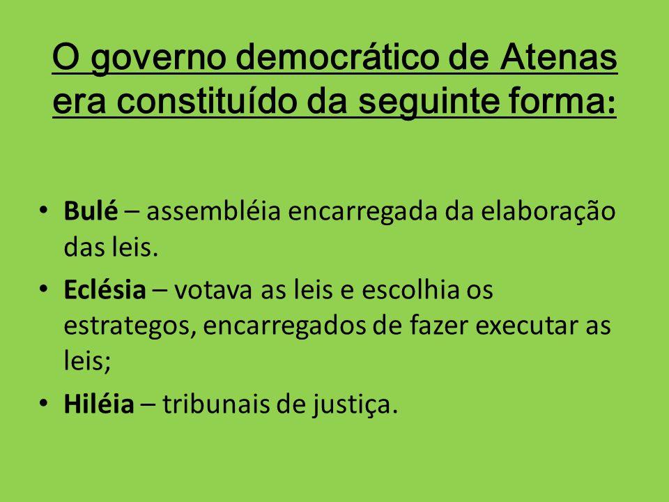 O governo democrático de Atenas era constituído da seguinte forma: