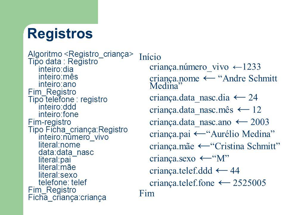 Registros Início criança.número_vivo ←1233