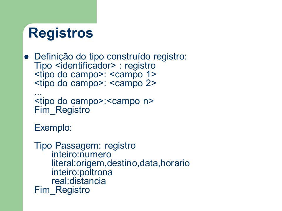 Registros Definição do tipo construído registro: