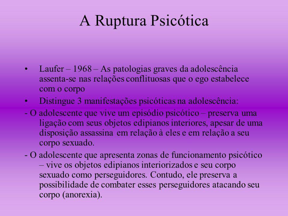 A Ruptura Psicótica Laufer – 1968 – As patologias graves da adolescência assenta-se nas relações conflituosas que o ego estabelece com o corpo.