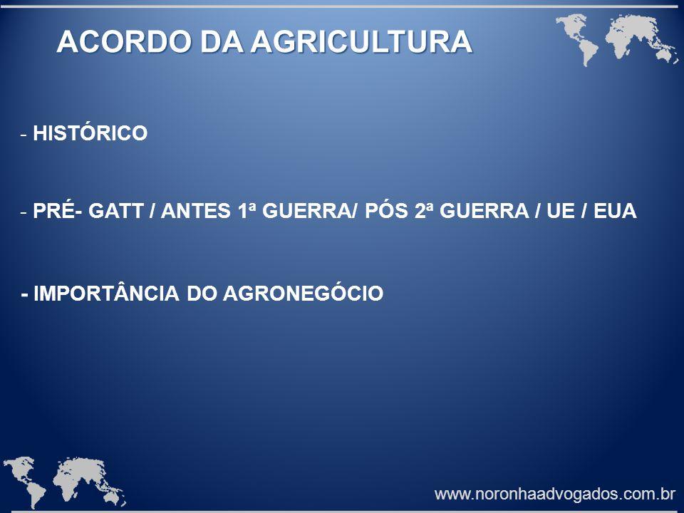 ACORDO DA AGRICULTURA - IMPORTÂNCIA DO AGRONEGÓCIO HISTÓRICO